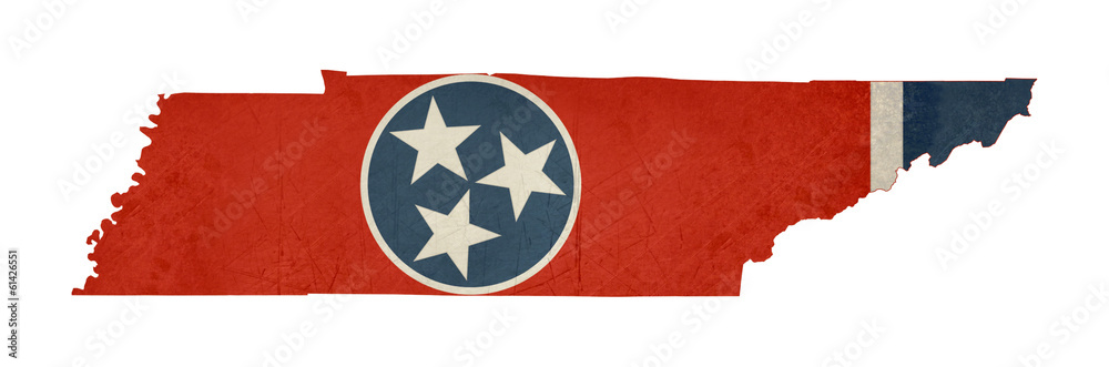 Fototapeta Grunge state of Tennessee flag map