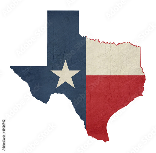 Fotografie, Obraz  Grunge state of Texas flag map