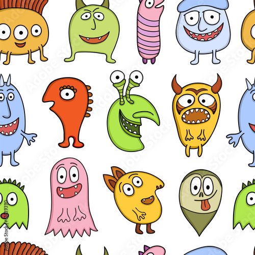 Funny characters seamless vector pattern.
