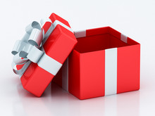 Open Red Gift Boxes With White  Ribbon