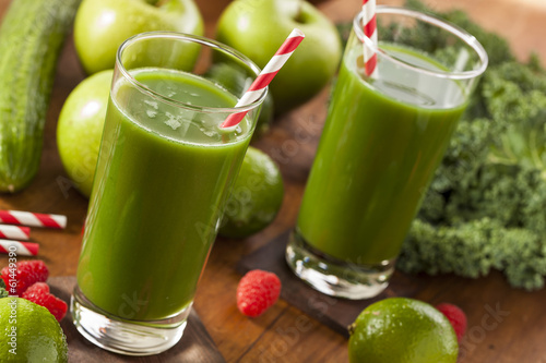 Foto op Canvas Sap Healthy Green Vegetable and Fruit Smoothi Juice