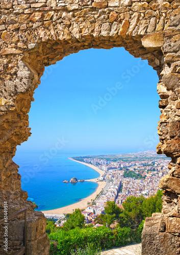 Photo  View of Spanish beach of resort town Blanes. Costa Brava, Spain
