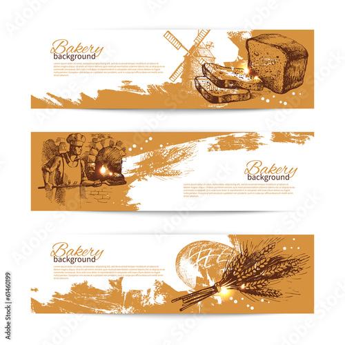 Fotografie, Obraz  Set of bakery sketch banners. Vintage hand drawn illustrations