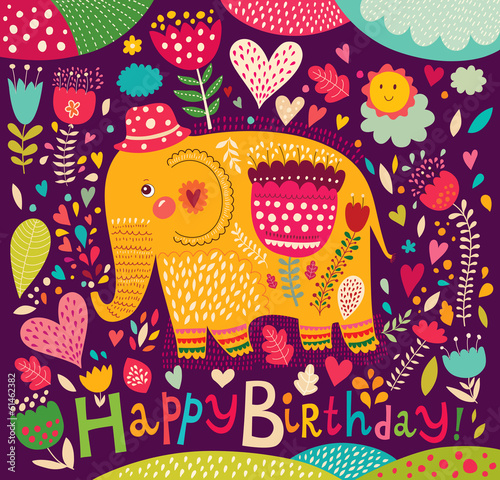 Cartoon vector illustration with elephant Canvas Print