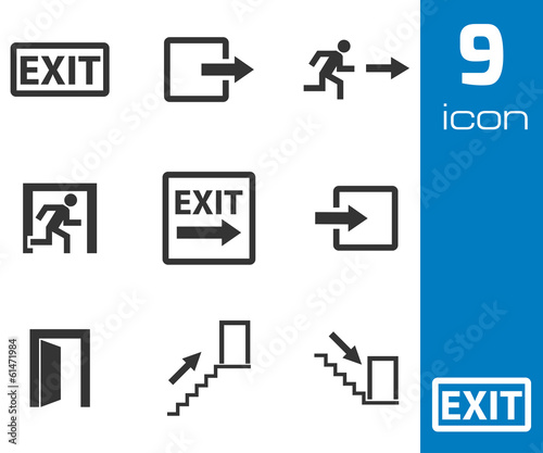 Vector black exit icons set Wall mural