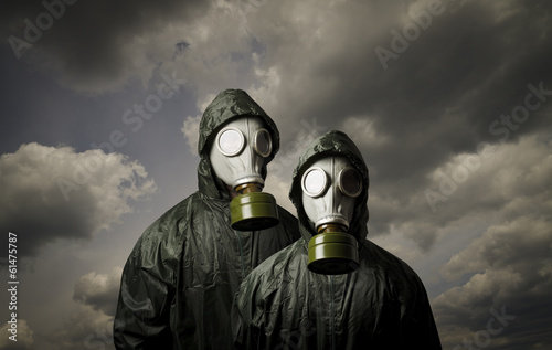 Adam and Eve. Gas masks. Poster