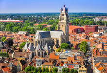 Aerial View Of Saint Salvator Cathedral, Old Town Of Bruges