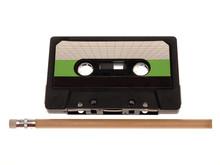 Retro Music Audio Tape With A Pencil