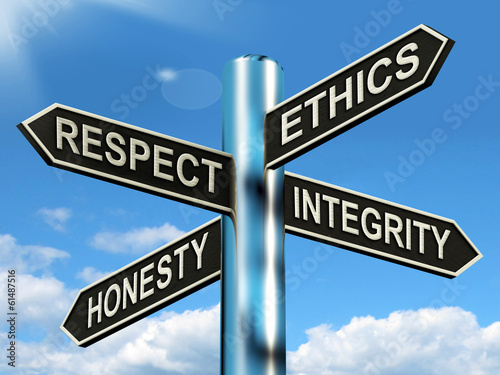 Respect Ethics Honest Integrity Signpost Means Good Qualities Wallpaper Mural