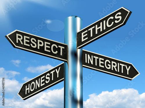 Respect Ethics Honest Integrity Signpost Means Good Qualities Canvas Print
