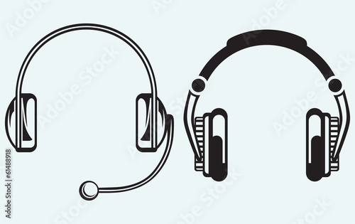 Icon headphones isolated on blue background Tableau sur Toile
