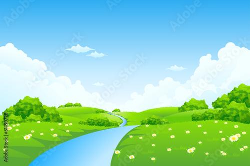 Foto op Aluminium Blauw Green Landscape with Trees