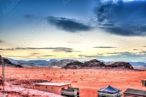 Fotobehang Antarctica Scenic view of Jordanian desert in Wadi Rum, Jordan at twilight