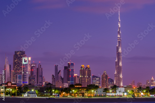 Downtown of Dubai (United Arab Emirates) in the sunset Canvas Print