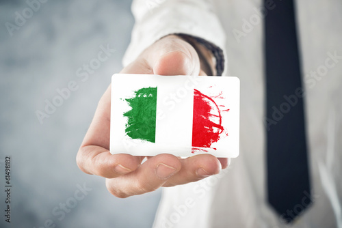 Italian businessman holding business card with italy flag buy this italian businessman holding business card with italy flag colourmoves