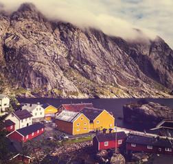 Fototapeta chaty w Norwegii
