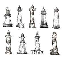 Set Of Cartoon Lighthouses. Ic...