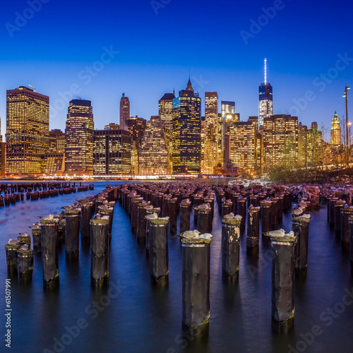 Manhattan Skyline with the One World Trade Center building at tw Poster