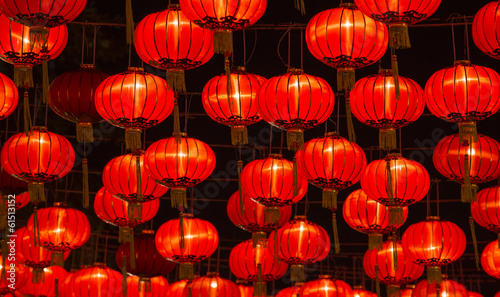 Stickers pour porte Pekin Chinese New Year Lanterns