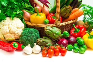 Vegetables on wood wicker