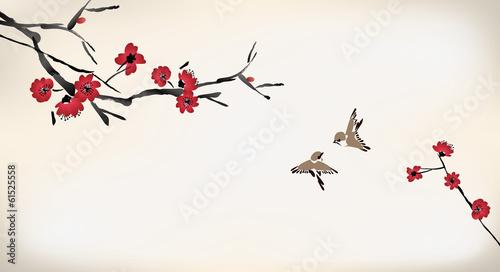 orientalny-kwiat-wisni-na-plotnie
