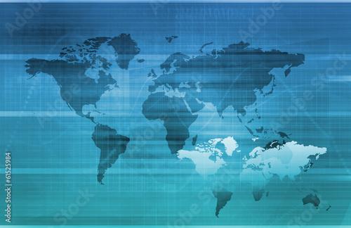 Staande foto Wereldkaart Global Information Technology