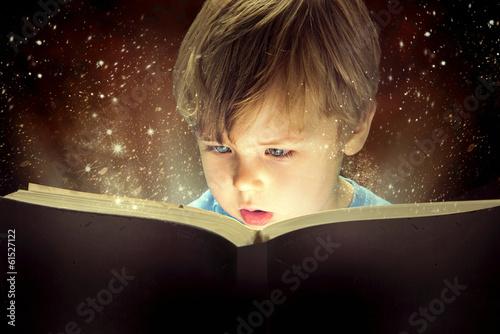 Printed kitchen splashbacks Artist KB Little boy and the magic book