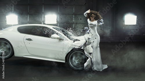 Alluring fashionable lady in the middle of car crash Wallpaper Mural