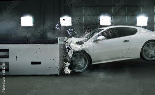 Art photo of crashed car Canvas Print