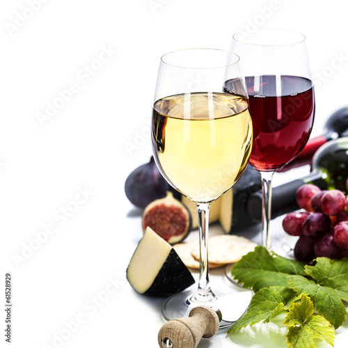 Foto op Aluminium Wijn Wine, grape and cheese