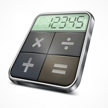 Pocket Calculator Isolated On White Background, Vector