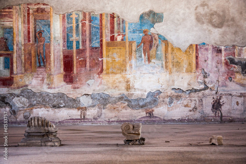 Carta da parati Fresco at the ancient Roman city of Pompeii