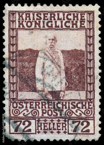 Fotografie, Obraz  AUSTRIA - CIRCA 1908: a stamp printed in the Austria shows Franz