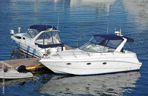 Printed kitchen splashbacks Canary Islands White motor yacht over harbor pier, Odessa, Ukraine