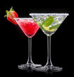 alcohol cocktail set on a black