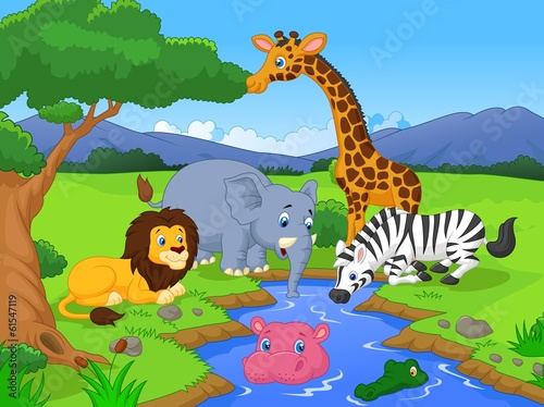 Savannah scenery with animals and waterhole
