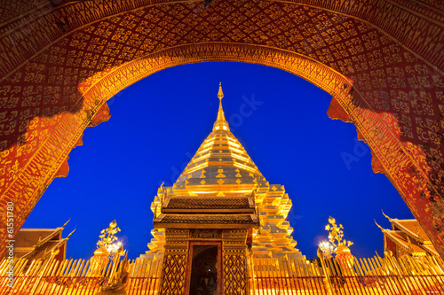 Garden Poster Temple Wat Phra That Doi Suthep in Chiang Mai province of Thailand