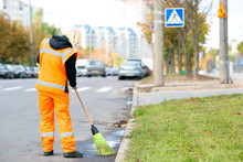 Road Sweeper Cleaning Street W...