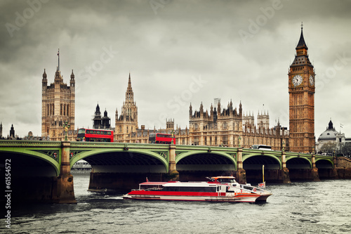 Türaufkleber London roten bus London, the UK. Big Ben, the River Thames, red buses and boat
