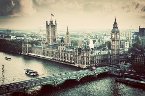 Fototapeta premium Londyn, Wielka Brytania. Big Ben, Pałac Westminsterski. Zabytkowe