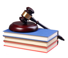 Judge Gavel And Books Isolated