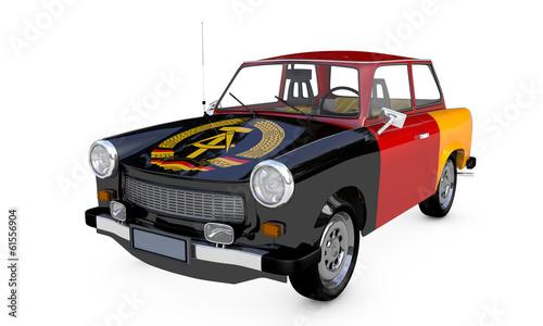 Photo  Trabant DDR Flagge