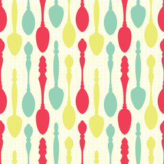 Panel Szklany Do herbaciarni Spoons seamless pattern
