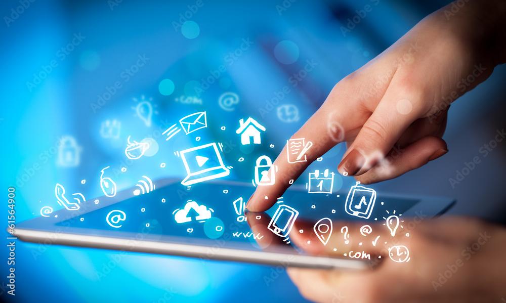 Fototapeta Finger pointing on tablet pc, social media concept