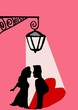 lovers under street lamp