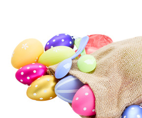 Fototapeta na wymiar pile of colorful easter eggs in pouch