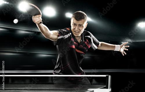 Foto-Schmutzfangmatte - sports man tennis-player on black background (von Mike Orlov)