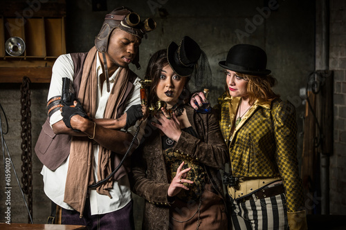 Steampunk Trio with Phone Wallpaper Mural