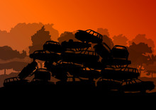 Old Used Automobile Cars Metal Scrapyard Graveyard Landscape In