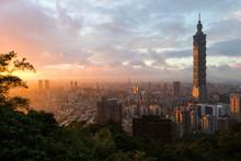 Sunset Cityscape With Taipei's Skyline In Taiwan